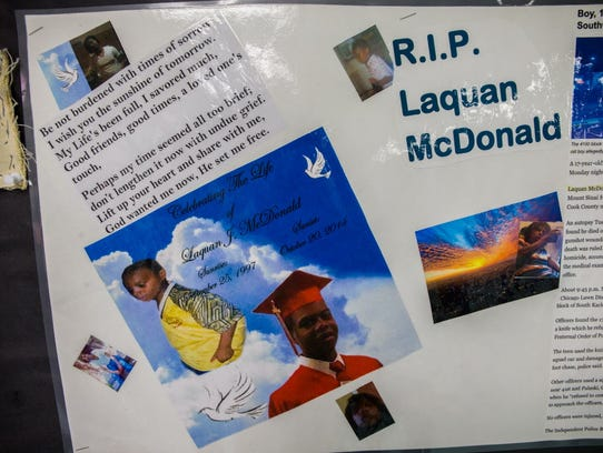 A memorial to 17-year-old Laquan McDonald and other