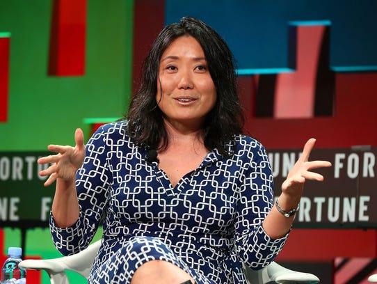 Evertoon founder Niniane Wang speaks onstage during