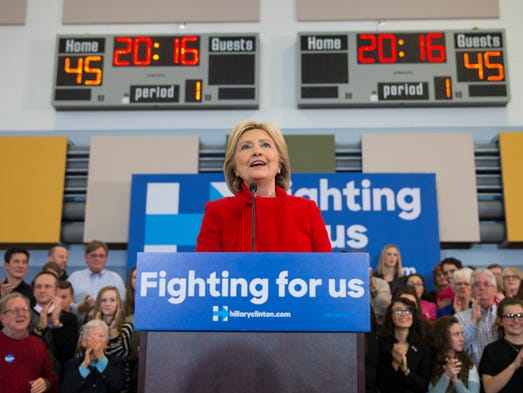 Democratic presidential candidate Hillary Clinton speaks
