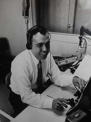 Jack Palvino broadcasts from the booth at WBBF radio station in the 1960s.