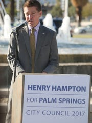 Henry Hampton launched his bid for Palm Springs City Council on December 7, 2016, accompanied by friends, family and supporters. The election is to be held in November 2017.