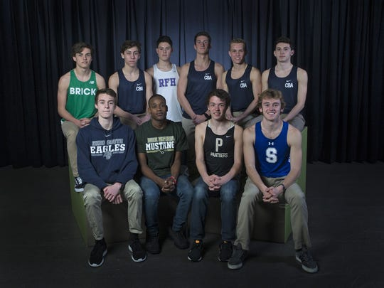 2018 Boys All Shore Track - Front Row L to R - Mark Anselmi, Middletown South- Jeffrey Lavarin, Brick Memorial, Devin Hart, Point Pleasant Borough, Drew Maher, Shore Regional. Back Row - Damien Dilcher, Brick Township High School - Liam O'Hara, CBA, - Dekker Sebastian Buckley, Rumson-Fair Haven - Andrew Canale, CBA - Nicholas Hanlon, CBA - Rafael Coppola - CBA