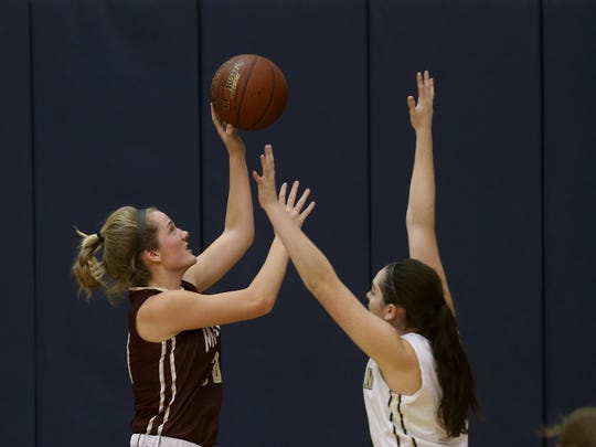 Mendon's Caroline Cullinan left, averages nearly 10 points a game and about eight rebounds.