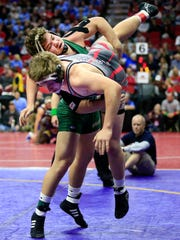 Cody Fisher of Woodward-Granger and Dalton Chipp of Hampton-Dumont wrestle at 195 pounds in the Class 2A semifinals Friday, Feb. 16, 2018.
