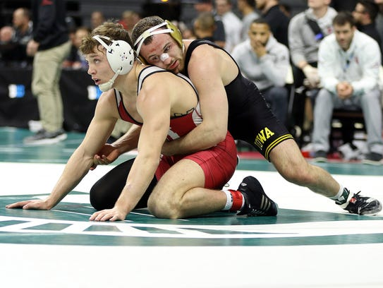Iowa Hawkeyes wrestler Joey Gunther vs Indiana Hoosiers