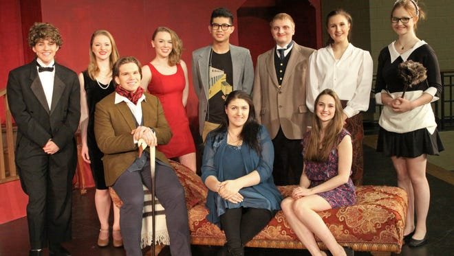 "The cast of Roncalli High School's ""But Why Bump Off Barnaby?"" Pictured front, from left, are Jacob Haasch, Isabella Bechner and Amy Holschbach, and back, from left, are Elaina Falconer, Grace Simono, Hope Gentile, Leo Zhang, Nathan Buschman, Nicole Wagner and Julia Oseka."