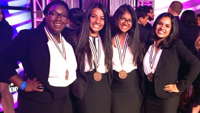 "Farmington High School's Health Education team comprised of Joree Kidd, Amritha Sivakumaran, Anne Mandapathil, and Shikha Raman brought home a bronze medal for their lesson titled, ""The Monsters Inside Me."""