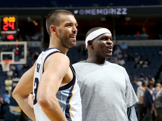 """I'm trying to be stable and put everything else to the side and just help my teammates be better,"" said Memphis Grizzlies Marc Gasol (left) with Zach Randolph."