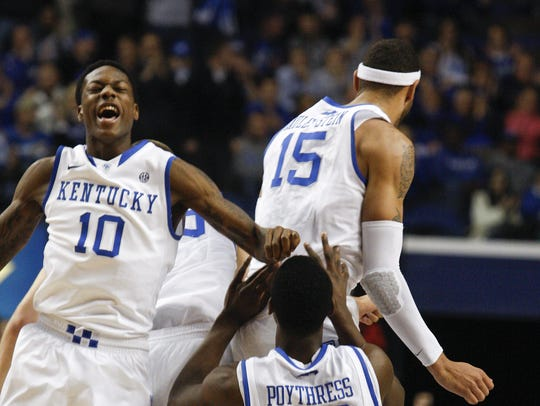 The 2012-13 Wildcats, featuring Archie Goodwin (10), Willie Cauley-Stein (15) and Alex Poythress (22) would be in the NCAA Tournament in a rewrite without Louisville and Syracuse. Photo taken Feb. 20, 2013