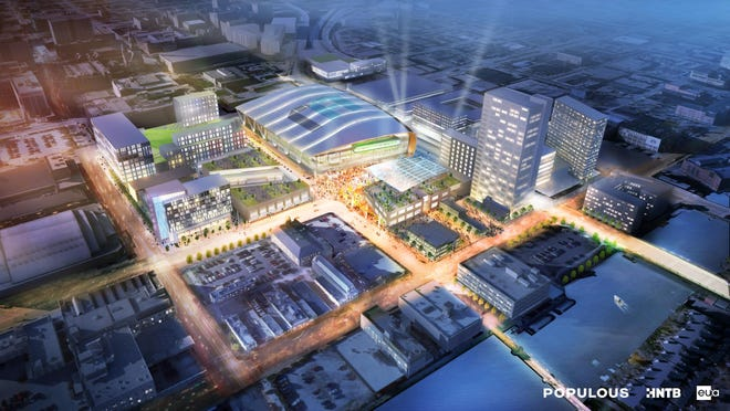 This artist's rendering provided by Populous, HNTB Corp. and Eppstein Uhen Architects, shows a proposed new arena for the Milwaukee Bucks.