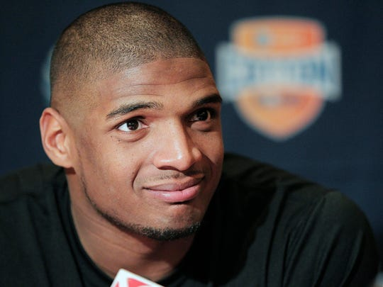 Missouri senior defensive lineman Michael Sam speaks to the media during an NCAA college football news conference in Irving, Texas. Sam says he is gay, and he could become the first openly homosexual player in the NFL.