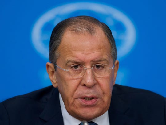 Russian Foreign Minister Sergey Lavrov speaks during