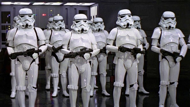 "Storm Troopers from the ""Star Wars"" film series."