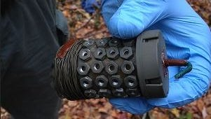 One of two functional pipe bombs found in the Pocono Mountains woods during the hunt for Eric Frein, wanted for the Sept. 12, 2014, ambush that killed one trooper and wounded another. Both devices could have been detonated by trip wire or fuse.