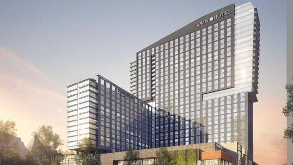 Rendering of the Omni Hotel and Residences in downtown Louisville.