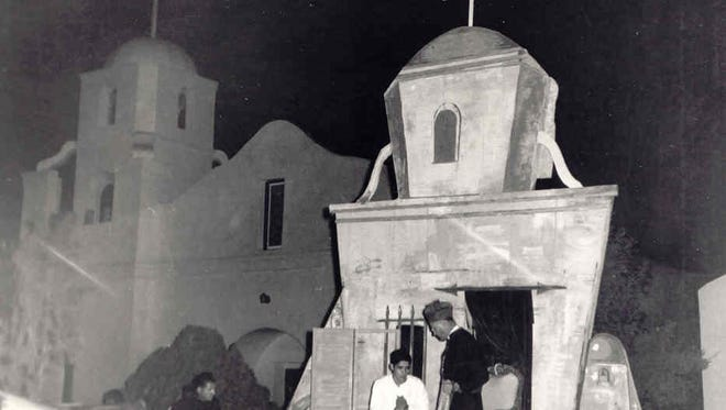 """A photo from the late 1950's shows the staging of the play reenacting """"The Miracle of the Roses"""" at the Old Adobe Mission in what is now  downtown Scottsdale. The church  opened in 1933 and was built by the Hispanic parishioners of the old Barrio, which was at the site of  the current Scottsdale Civic Center."""