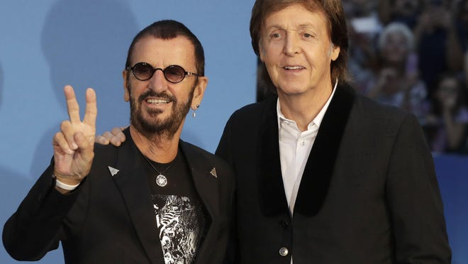 "Former Beatles Ringo Starr and Paul McCartney arrive at the world premiere of Ron Howard's movie, ""The Beatles: Eight Days A Week — The Touring Years"" in London."