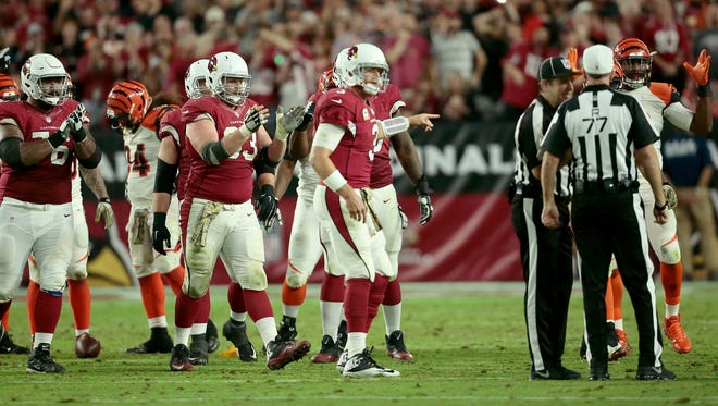 Cardinals quarterback Carson Palmer wonders if the last-second penalty was on the Bengals during the Cardinals' 34-31 victory on Sunday night.