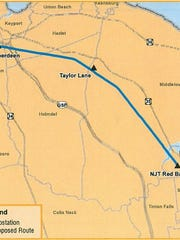 The proposed route for a nearly 10-mile power line between Aberdeen and Red Bank.
