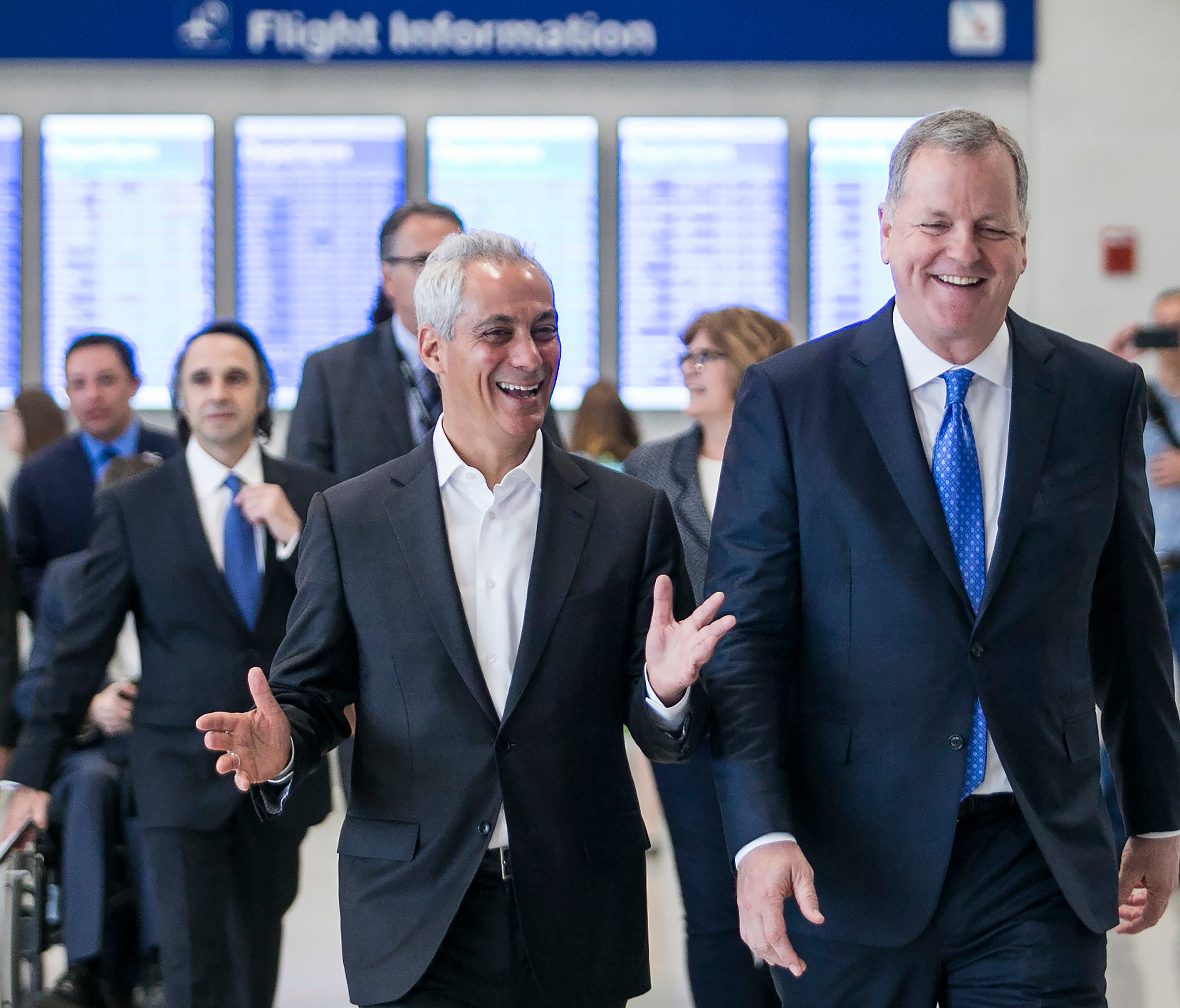 Chicago Mayor Rahm Emanuel (left) and American Airlines CEO Doug Parker, right, tour the new 41,000 square-foot 'L Stinger' Concourse on Friday, May 11, 2018, that adds five new gates at O'Hare International Airport.