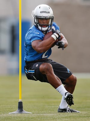 Detroit Lions running back Ameer Abdullah runs a drill during rookie minicamp in Allen Park on May 8, 2015.
