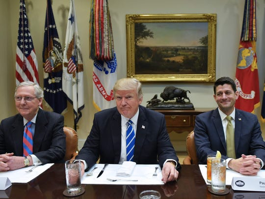 Senate Majority Leader Mitch McConnell, left, President Donald Trump, center, and Speaker of the House Paul Ryan, right, all want tax reform. Columnist Ted Kaufman predicts it isn't going to happen.