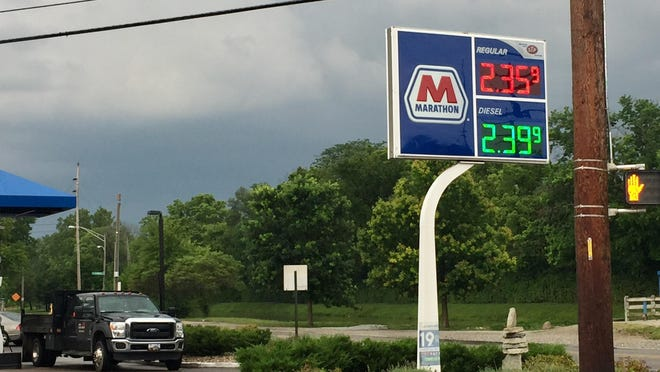A gas station near 56th and Illinois streets advertises its prices Tuesday.