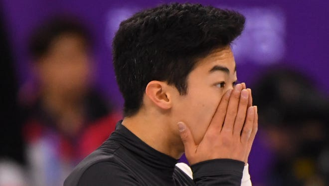 Nathan Chen looks as though he can't believe how badly his performance was in the men's short program.