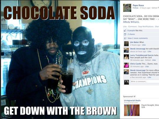 blackface chocolate soda profile photo on papa roux facebook wall