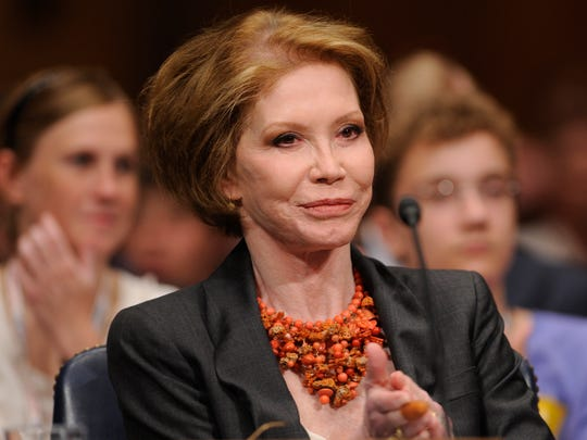 Actress Mary Tyler Moore waits to testify on Capitol Hill in Washington before the Senate Homeland Security and Governmental Affairs Committee hearing on Type 1 Diabetes Research in 2009.