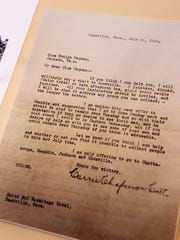 A letter dated July 21, 1920, to Evelyn Pegues from women's suffragist Carrie Chapman Catt offering to meet with groups to encourage passage of the 19th Amendment in Tennessee was on display during a reception honoring Sue Shelton White on Wednesday, May 16, 2018, at the Jackson-Madison County Library.