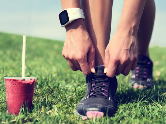 Runner prepares for workout