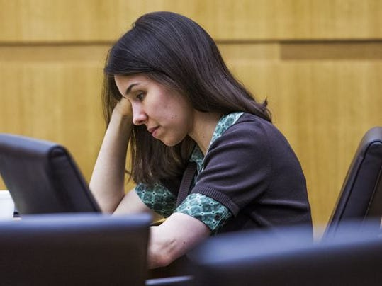 Jodi Arias looks down in Maricopa County Superior Court in Phoenix on ...