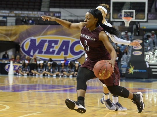 The Shore's Dayona Godwin drives to the basket against Coppin State University at the MEAC Basketball Championships on Monday, March 6, 2017 in Norfolk, Va.