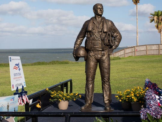 The Naval Aviator Memorial statue on display during the ground breaking at Ropes Park on Thursday, June 15, 2017.