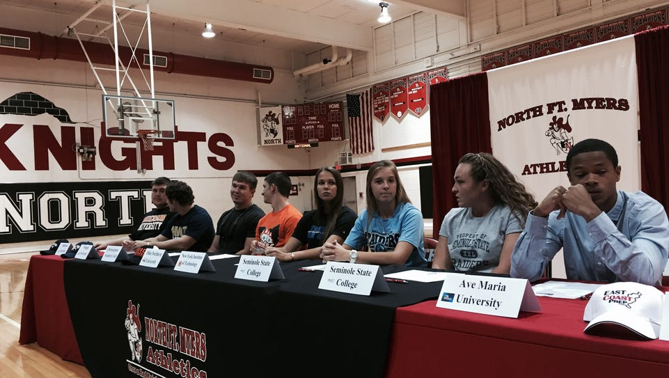 Nine athletes from North Fort Myers High School signed