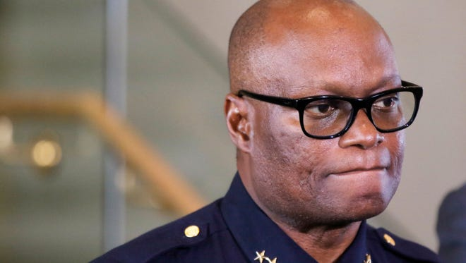 Dallas Police Chief David Brown speaks during a news conference at Dallas City Hall July 8.
