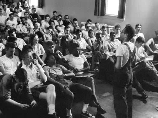 Freedom Summer organizer Robert Moses talks to volunteers at an orientation session in Oxford, Ohio.