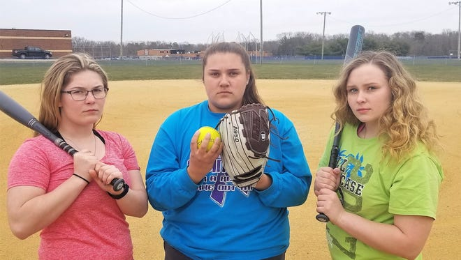 Kaylin Power, left, Bailey Pennino, center and Diana Parker, right, lead Delsea's softball team into the 2018 season with hopes of a South Jersey title.