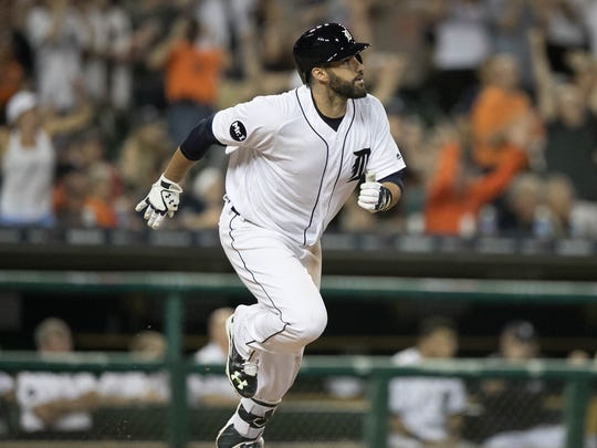 Detroit Tigers' J.D. Martinez hits a go-ahead grand slam against the Baltimore Orioles' Brad Brach in the seventh inning Tuesday, May 16, 2017 at Comerica Park.