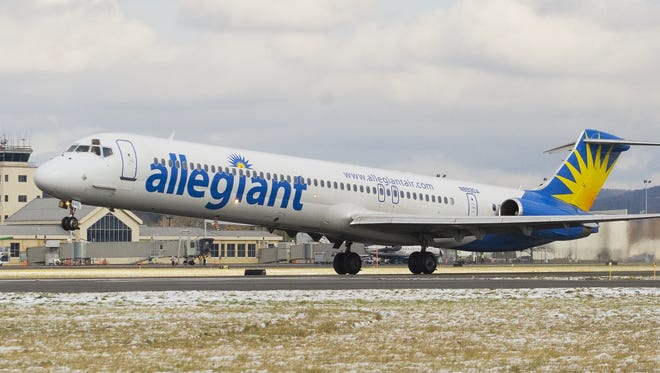 An Allegiant Air flight takes off from the Elmira Corning Regional Airport. Allegiant accounts for about a third of the flights at the airport.