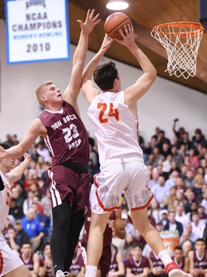 Matt Zona (24) and Bergen Catholic shared the Big North United Division boys basketball title with Victor Konopka (23) and Don Bosco.
