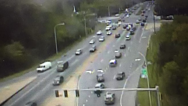 Clean up efforts on Del. 1 are creating traffic backs near Christiana Mall.