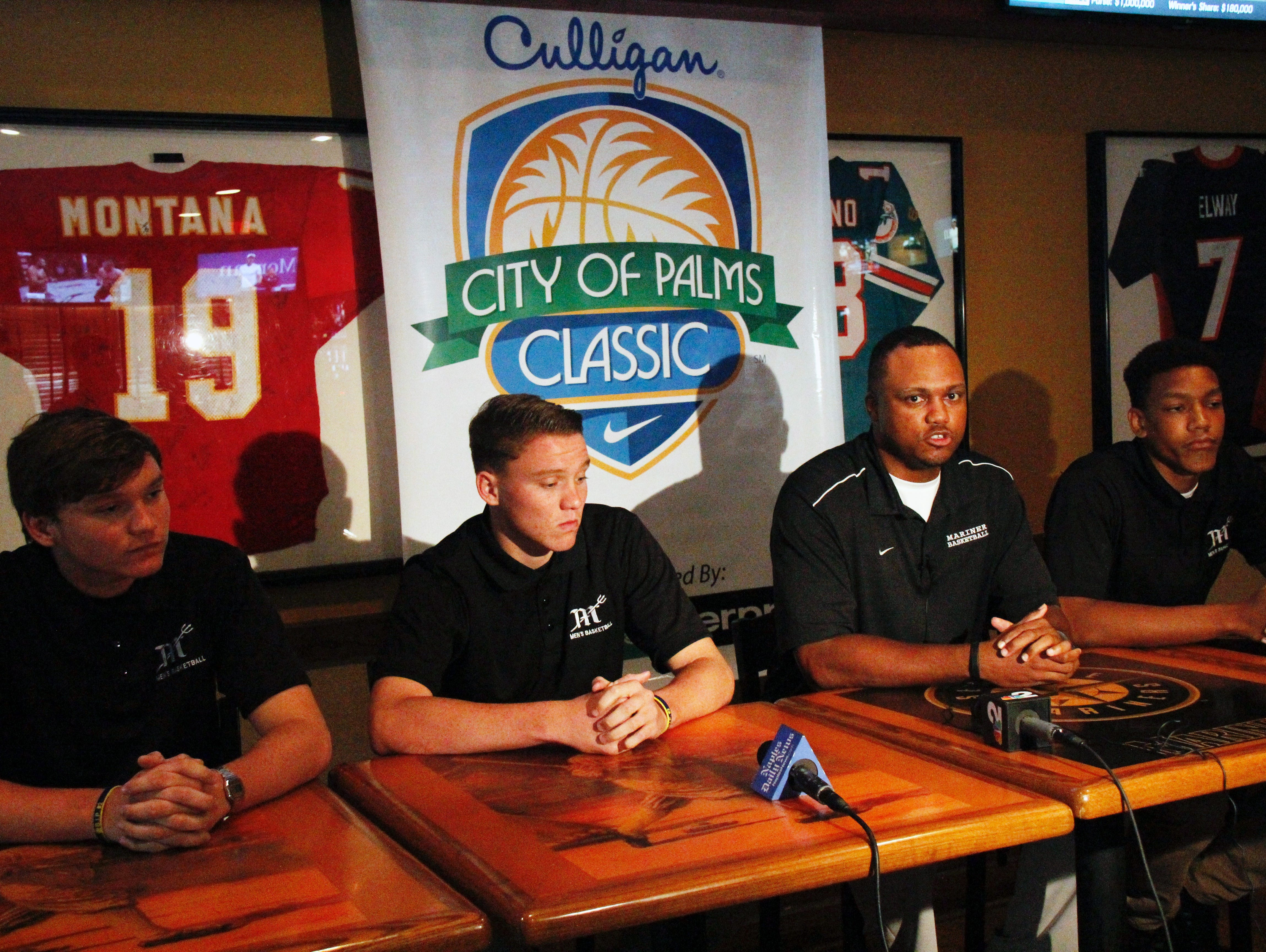 Members of the Cape Coral-Mariner basketball team speak during a news conference at Shoeless Joe's Cafe in Fort Myers for the introduction of this years field in the 2016 City of Palms Basketball Classic on Wednesday.