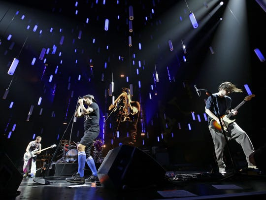 Red Hot Chili Peppers perform on Oct. 18, 2017 during