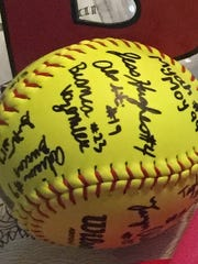 Rutgers University softball players recently autographed a ball for Leah Hansen