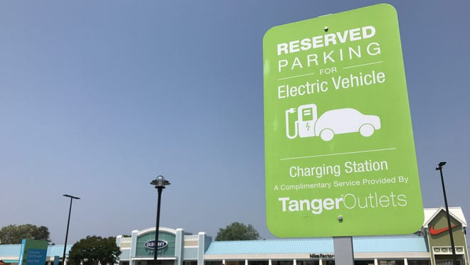 As more electric vehicles visit the beaches, local municipalities are expanding infrastructure to provide free charging locations, like this one in Rehoboth Beach. A Lewes businessman is donating four charging stations to the city to draw electric car owners to the vacation destination.
