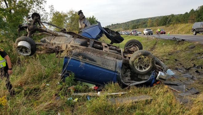 A pickup truck rolled off the road after it colided with a tractor-trailer on Interstate 81 southbound Thursday.