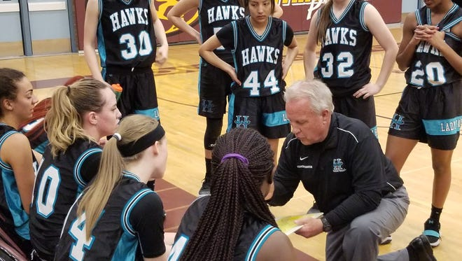 Highland head coach Miner Webster addresses his team during a timeout Friday at Mountain Pointe.