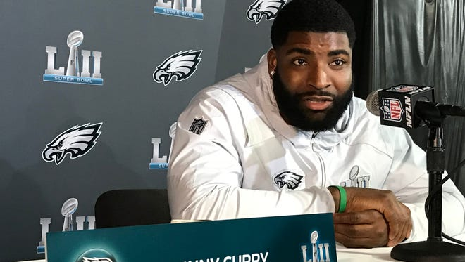 Philadelphia Eagles defensive end Vinny Curry of Neptune talks to reporters during Tuesday's Super Bowl LII media session at the Mall of America in Bloomington, Minn.
